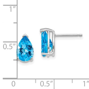14k White Gold 9x6mm Pear Blue Topaz Checker Earrings
