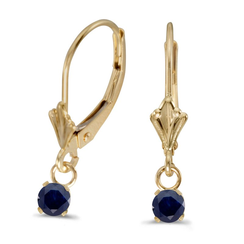Color Merchants 14k Yellow Gold Round Sapphire Lever-back Earrings