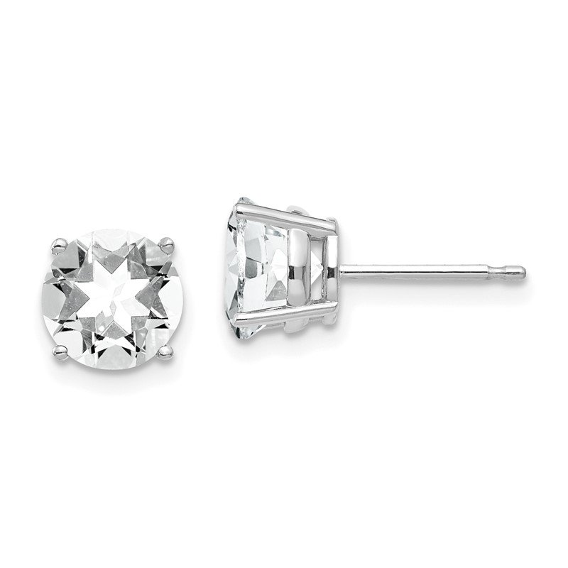 Quality Gold 14k White Gold 7mm Cubic Zirconia Earrings