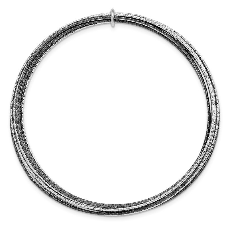 Leslie's Leslie's SS and Ruthenium Plated D/C 10 layer Slip-on Bangle