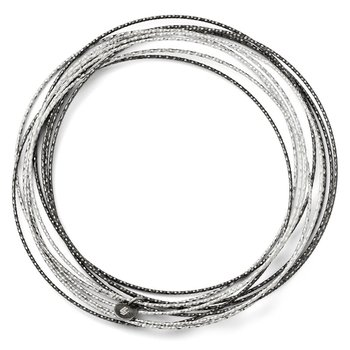 Leslie's SS and Ruthenium Plated Diamond-cut 10 layer Slip on Bangle