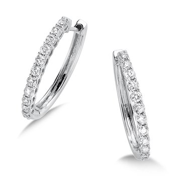 Pave set Diamond Oval Hoops in 14k White Gold (1/2ct. tw.) GH/SI1-SI2