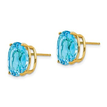 14k 12x10mm Oval Blue Topaz Earrings