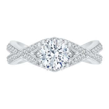 18K White Gold Split Shank Round Diamond Engagement Ring (Semi-Mount)