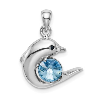 Sterling Silver Rhodium-plated Blue Crystal Dolphin Pendant