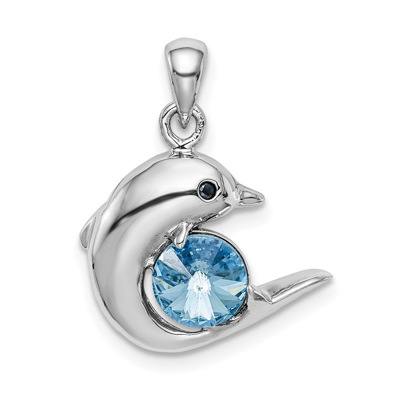 Quality Gold Sterling Silver Rhodium-plated Blue Crystal Dolphin Pendant