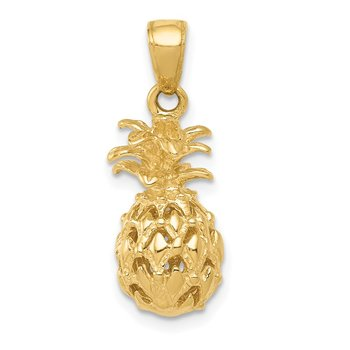 14K 3D Cut-out Pineapple Pendant