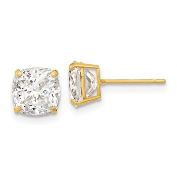 14k Polished 7x7 Cushion Cut CZ Studs Post Earrings