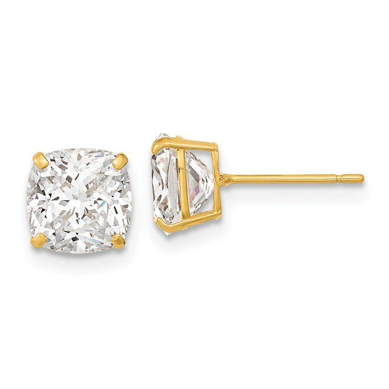 Arizona Diamond Center Collection 14k Polished 7x7 Cushion Cut CZ Studs Post Earrings