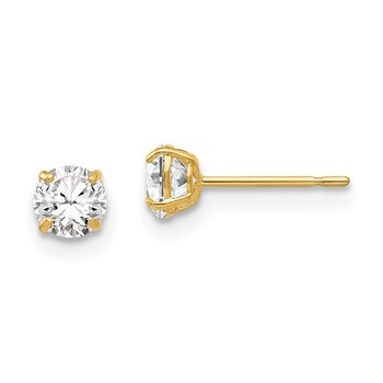 14k 4mm Round CZ Post Earrings