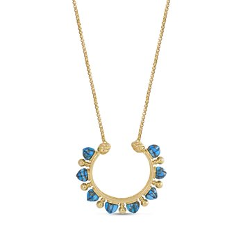 LuvMyJewelry Circle of Fire Turquoise Necklace in Sterling Silver & 14 KT Yellow Gold Plating