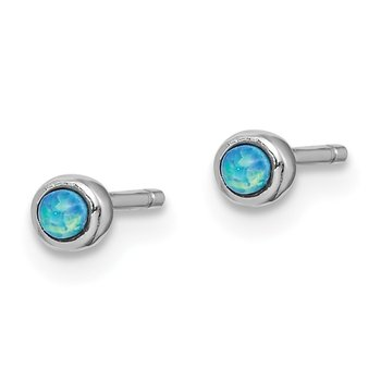 Sterling Silver Rhod-plated 3mm Imitation Opal Round Post Earrings