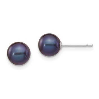 14k White Gold 6-7mm Black Round FW Cultured Pearl Stud Post Earrings