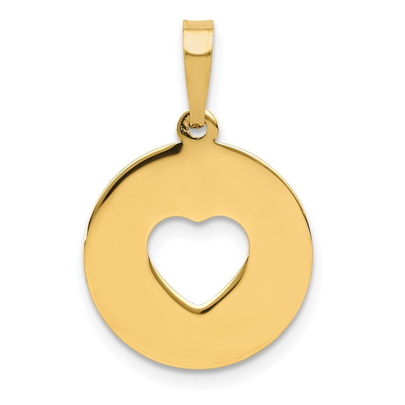 J.F. Kruse Signature Collection 14K Polished Cut-out Heart Circle Disc Pendant