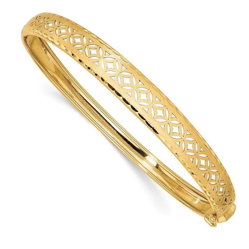 Quality Gold 14k Polished and Textured Graduated Flexible Hinged Bangle
