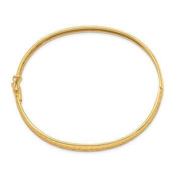 14k Polished and Textured Graduated Flexible Hinged Bangle