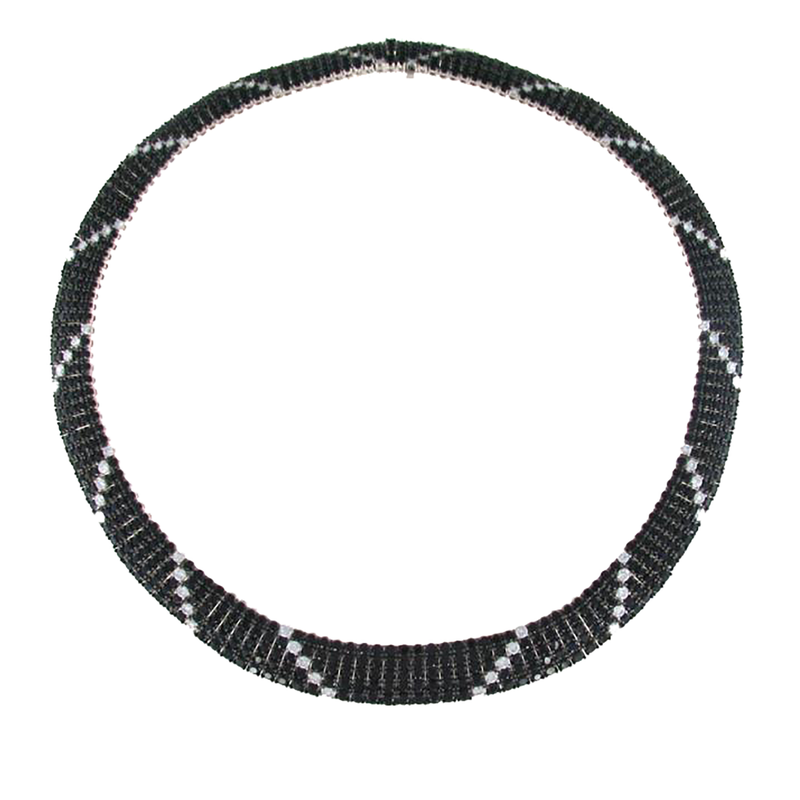 Roberto Coin 18Kt Gold Flex Collar With Black Sapphires And White Diamonds