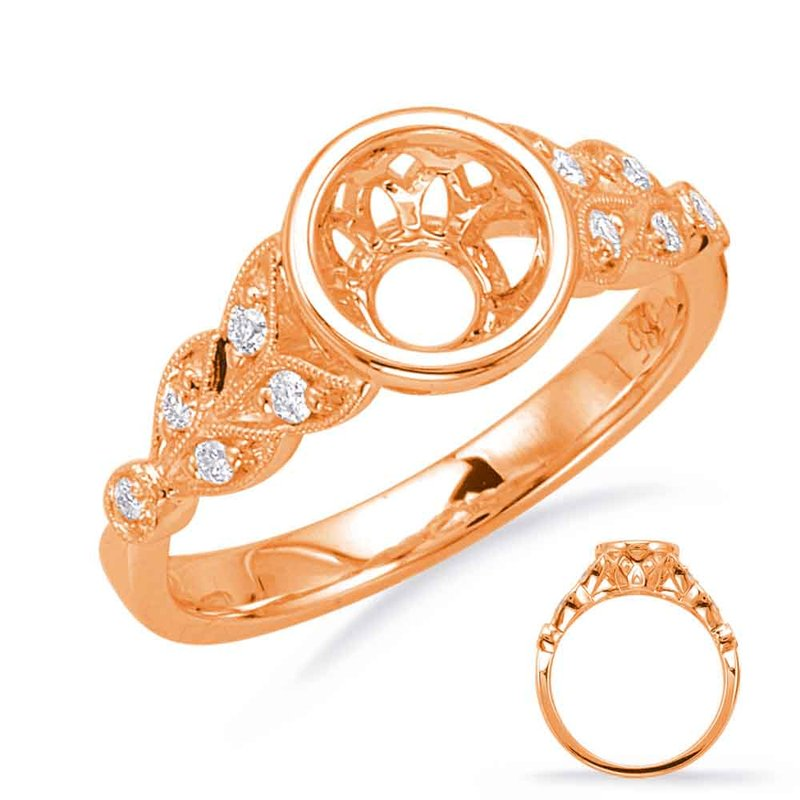 S. Kashi & Sons Bridal Rose Gold Engagement Ring Bezel Head
