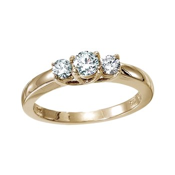 14k Yellow Gold 0.25 Ct Three Stone Trellis Diamond Ring