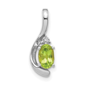 14k White Gold Peridot and Diamond Pendant