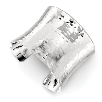 Sterling Silver 49.5mm Hammered Cuff Bangle