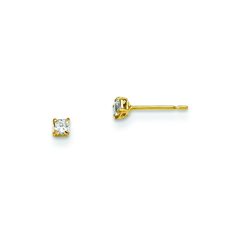 Quality Gold 14k Madi K 2mm Square CZ Basket Set Stud Earrings