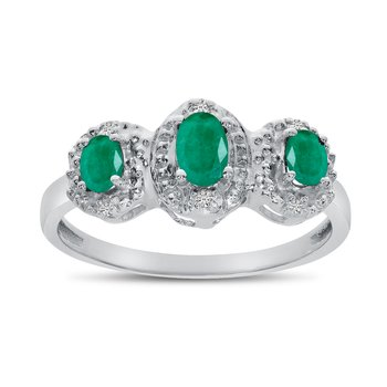 10k White Gold Oval Emerald And Diamond Three Stone Ring