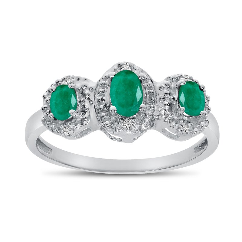 Color Merchants 10k White Gold Oval Emerald And Diamond Three Stone Ring