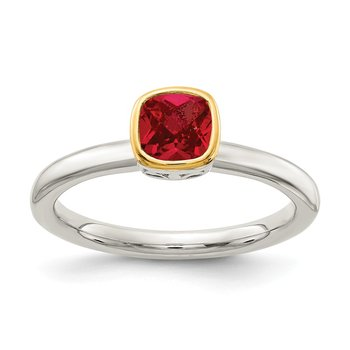 Sterling Silver w/ 14K Accent Created Ruby Ring