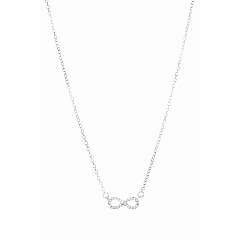 "Royal Chain Silver 18"" Mini Pave CZ Infinity Necklace"