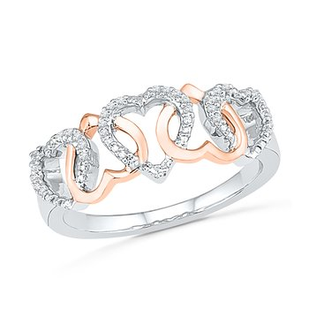 0.10 Ctw 10kt Pink Gold Heart With Diamonds Promise Ring