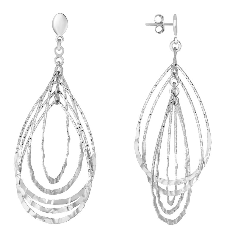 Royal Chain Silver Tear Drop Hammered Earring