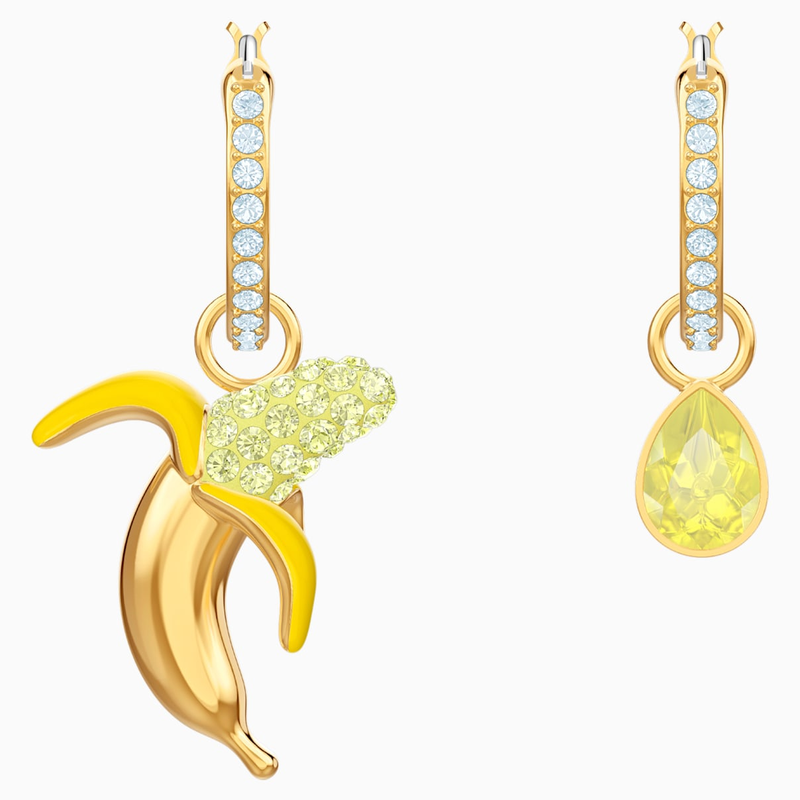 Swarovski No Regrets Banana Pierced Earrings, Multi-colored, Gold-tone plated