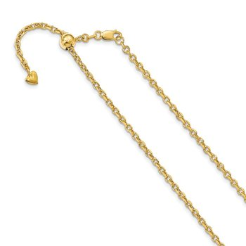 Leslie's 14K Adjustable 2.5mm Semi-Solid D/C Cable Chain