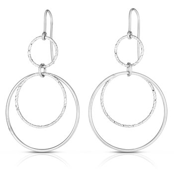Silver Circles Diamond Cut & Polished Earring