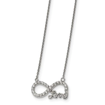 Sterling Silver CZ Infinity LOVE Necklace