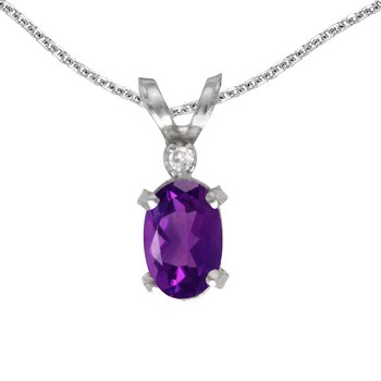 14k White Gold Oval Amethyst And Diamond Filagree Pendant
