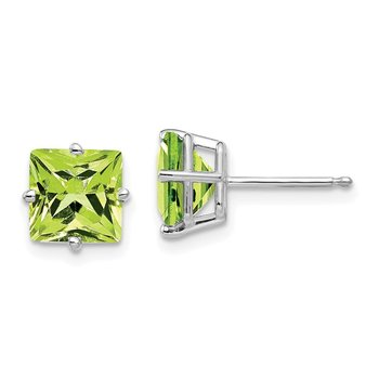 14k White Gold 7mm Princess Cut Peridot Earrings
