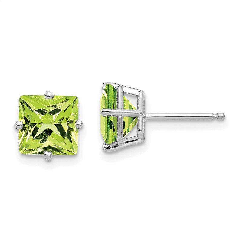 Quality Gold 14k White Gold 7mm Princess Cut Peridot Earrings