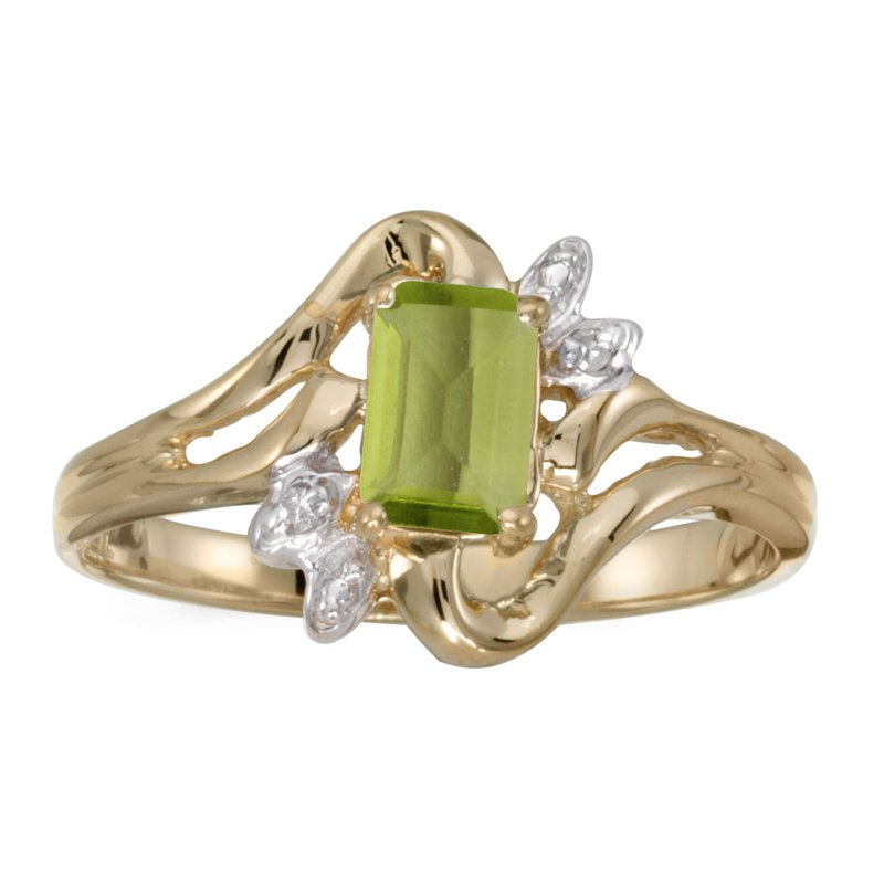Color Merchants 14k Yellow Gold Emerald-cut Peridot And Diamond Ring