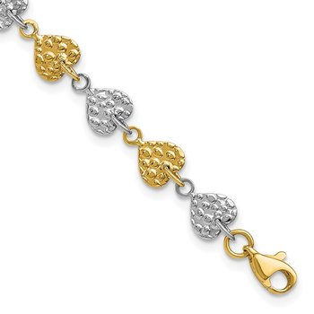 14K Two-tone Hammered Hearts Bracelet