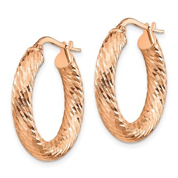 14k 4x20mm Rose Gold Diamond-cut Round Hoop Earrings