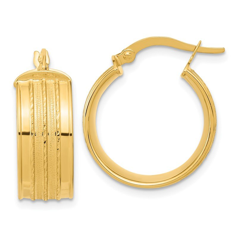 Quality Gold 14k Polished Satin Hoop Earrings