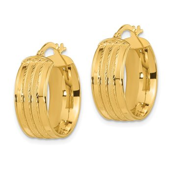 14k Polished Satin Hoop Earrings