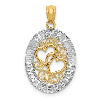14k and White Rhodium HAPPY ANNIVERSARY Hearts Pendant