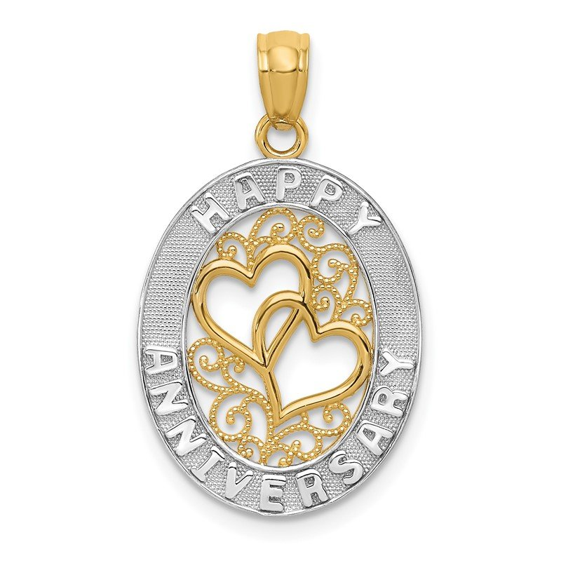 Quality Gold 14k and White Rhodium HAPPY ANNIVERSARY Hearts Pendant