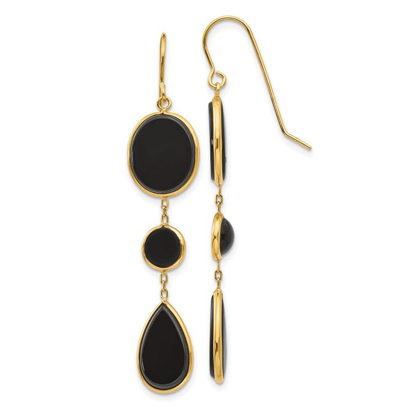 Quality Gold 14k Onyx Geometric Dangle Earrings