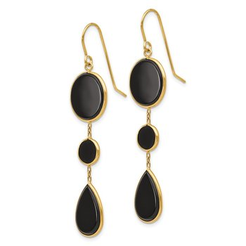 14k Onyx Geometric Dangle Earrings