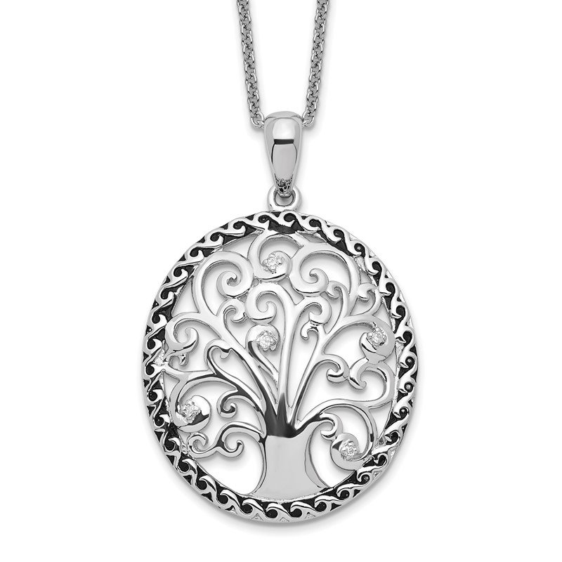 Quality Gold Sterling Silver CZ Antiqued Tree of Life 18in Necklace