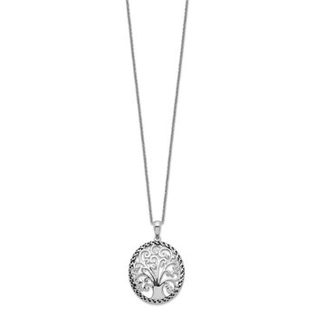 Sterling Silver CZ Antiqued Tree of Life 18in Necklace